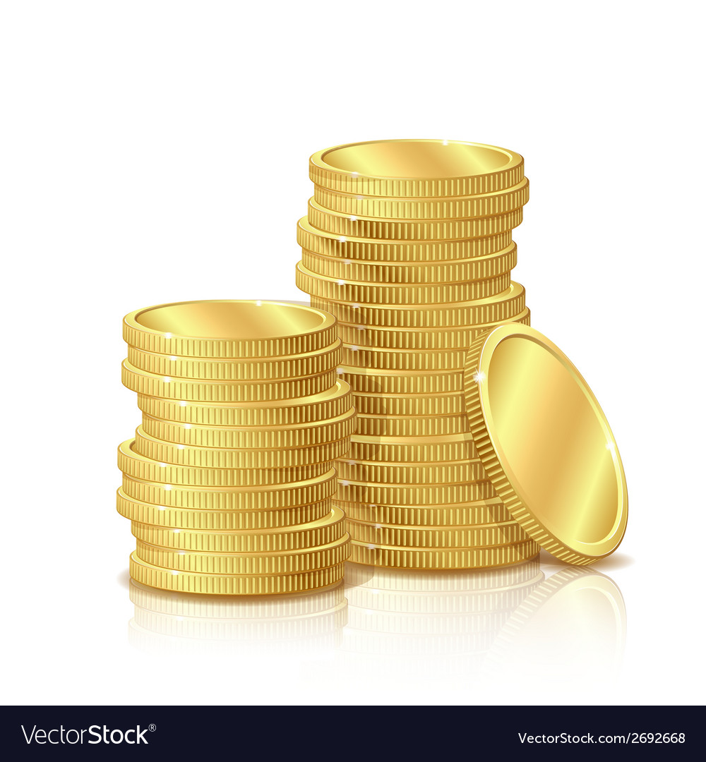 Stack of gold coins isolated on white background vector | Price: 1 Credit (USD $1)