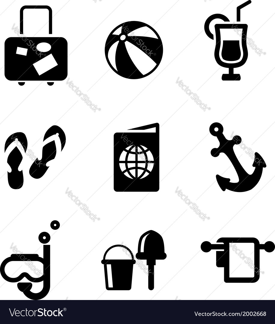 Summer vacation and travel icons vector | Price: 1 Credit (USD $1)