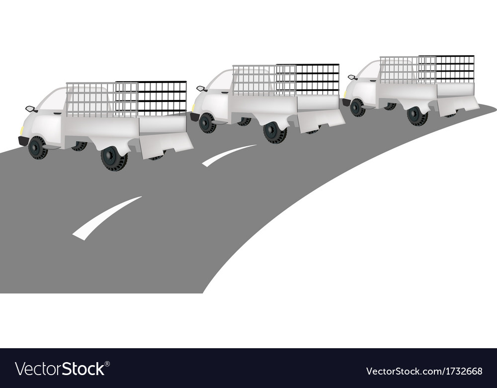 Three pickup cargo truck on the road vector | Price: 1 Credit (USD $1)