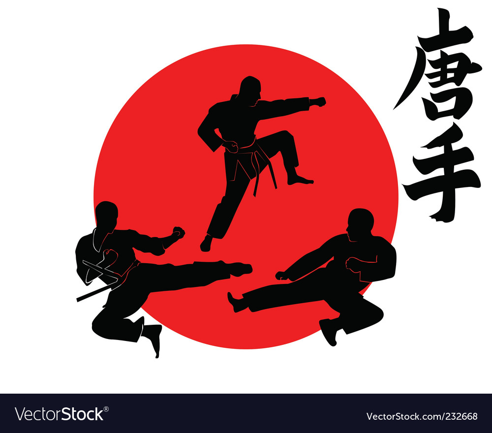 Three silhouettes karate vector | Price: 1 Credit (USD $1)