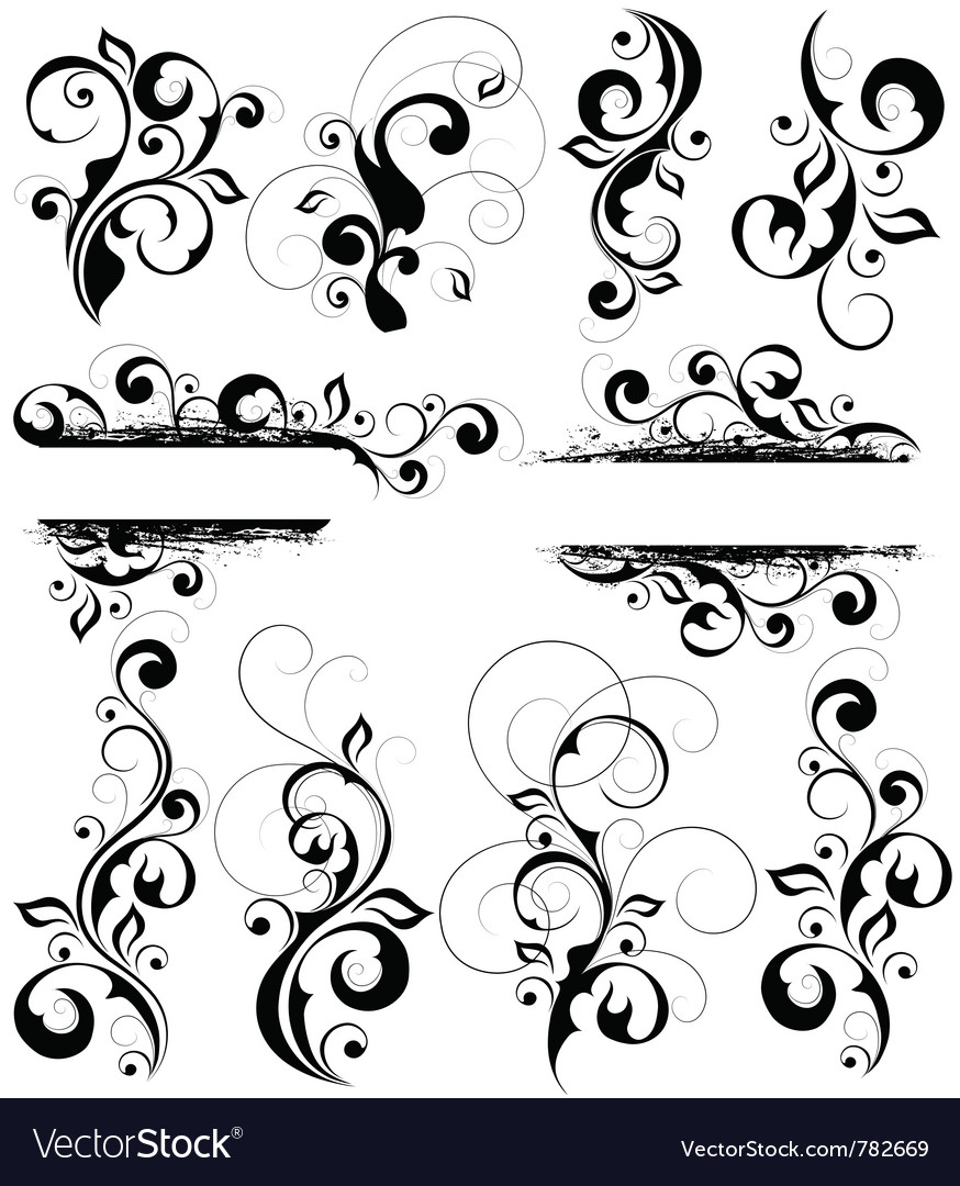 Black and white flourishes vector | Price: 1 Credit (USD $1)