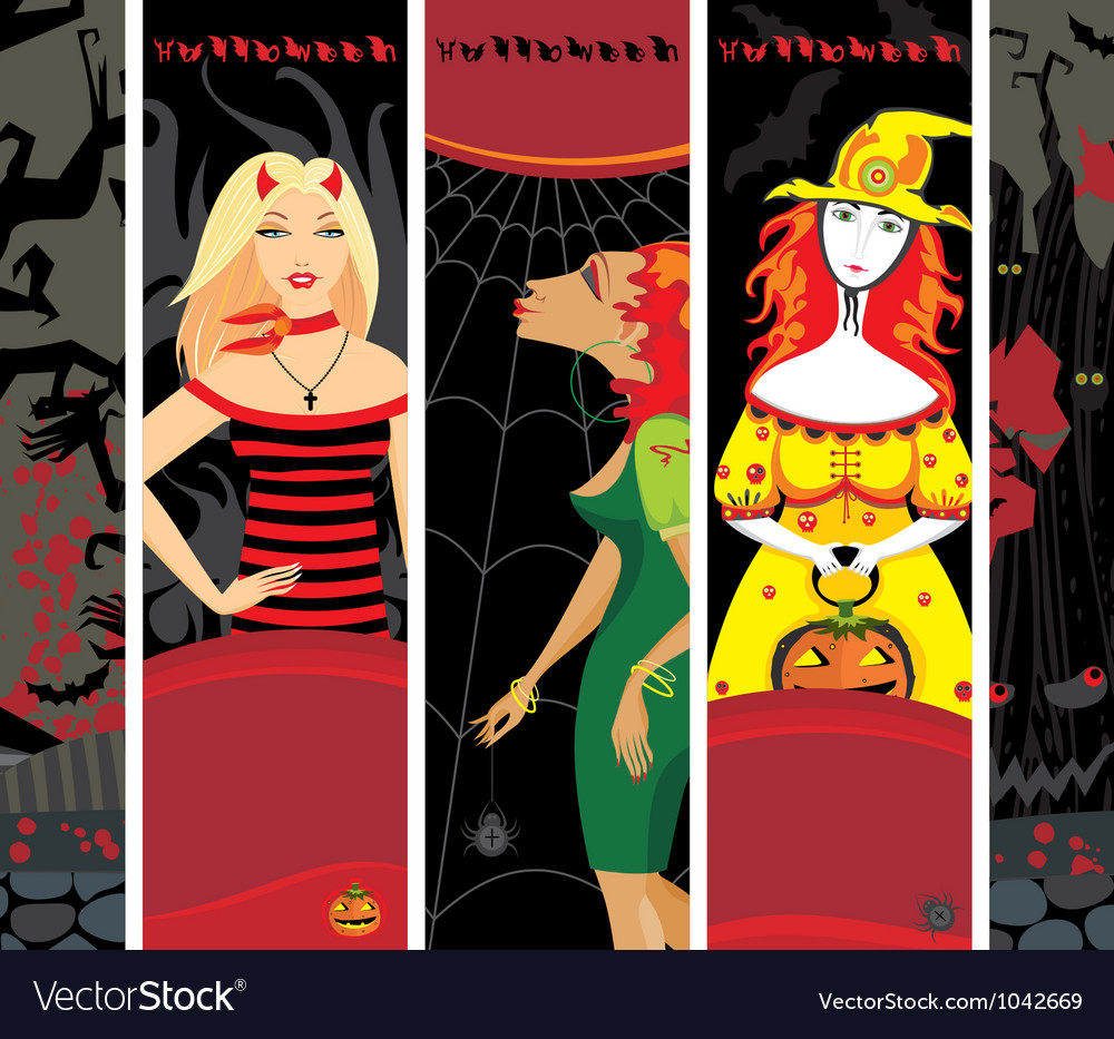 Halloween banner girl witch set vertical vector   Price: 1 Credit (USD $1)