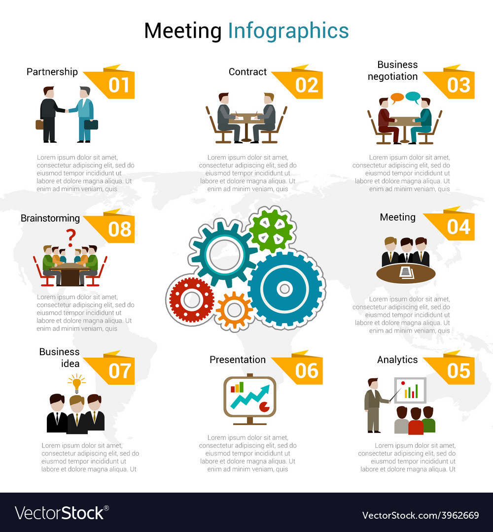 Meeting infographics set vector | Price: 1 Credit (USD $1)