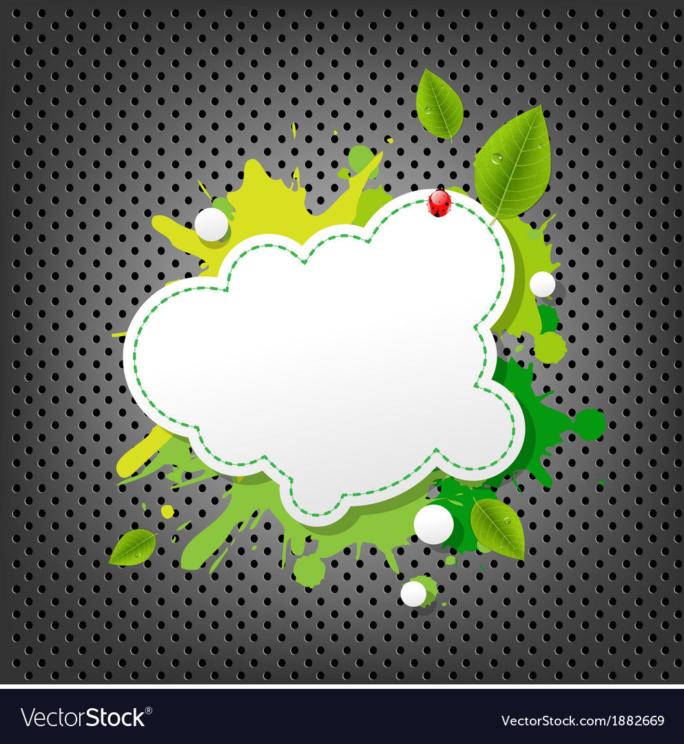 Metal background with green eco speech bubble vector | Price: 1 Credit (USD $1)
