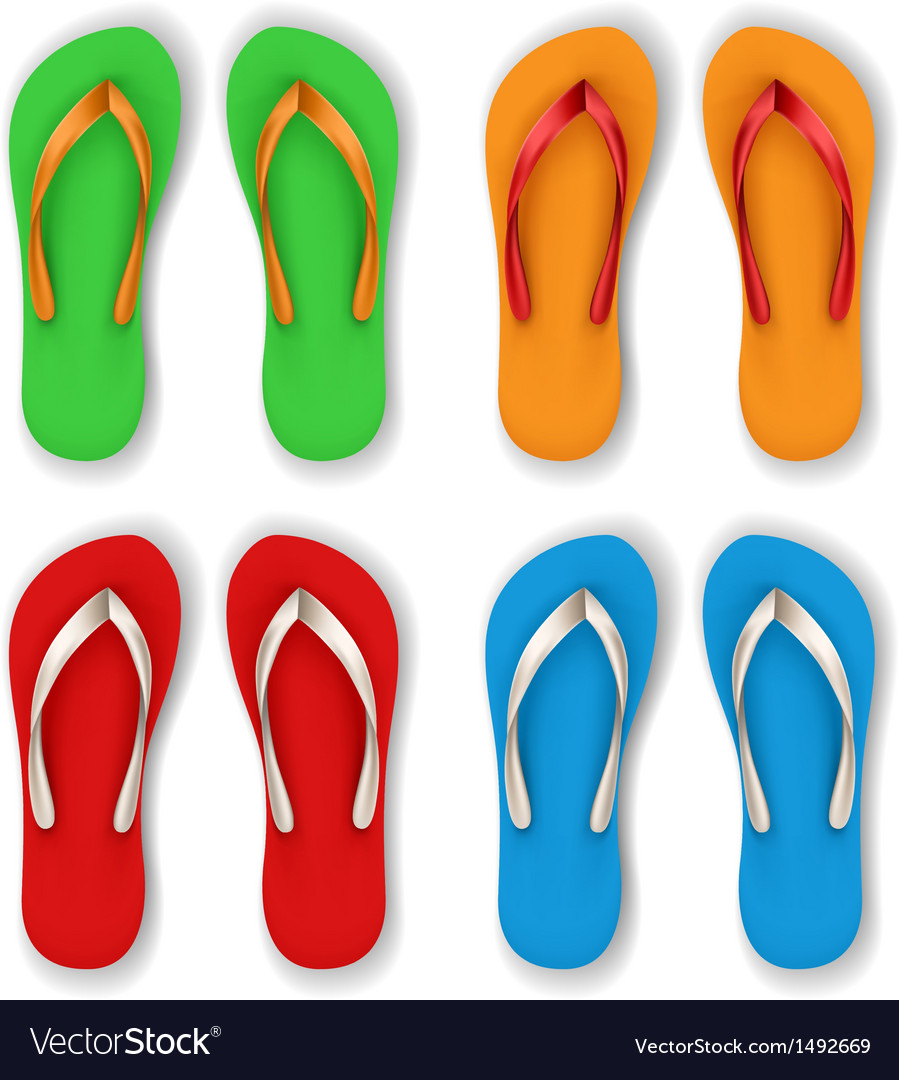 Realistic flip flop set vector | Price: 1 Credit (USD $1)