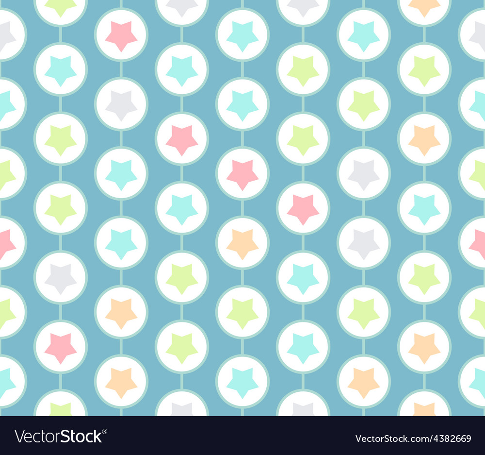 Stars inside circles seamless pattern in modern vector | Price: 1 Credit (USD $1)