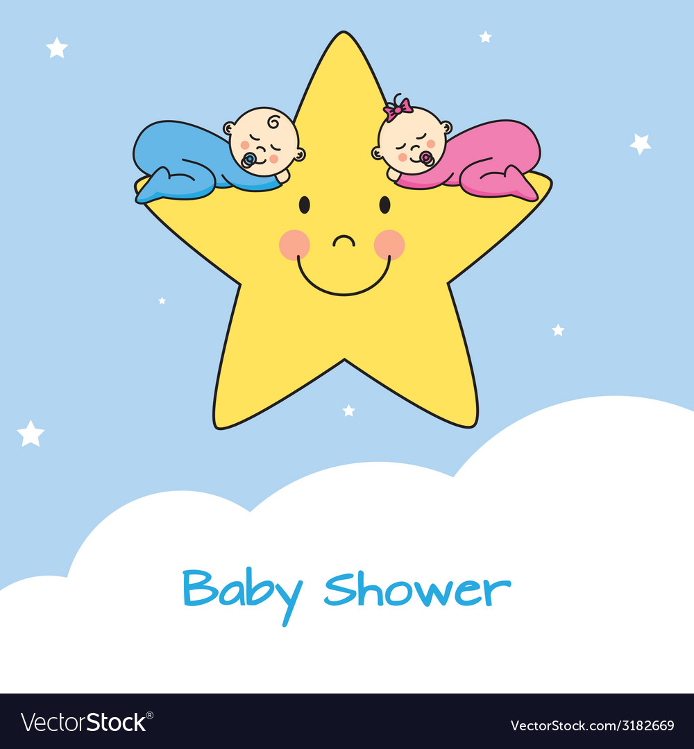 Twins sleeping in a star vector | Price: 1 Credit (USD $1)