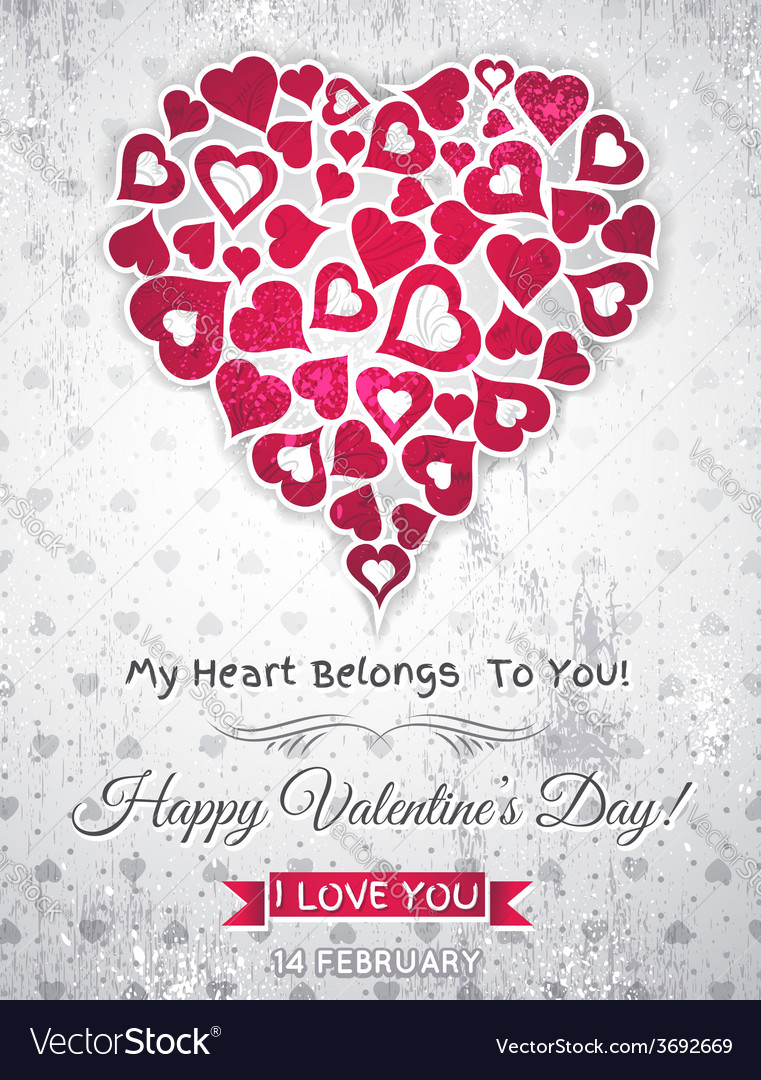 Valentines day greeting card with white heart vector | Price: 1 Credit (USD $1)