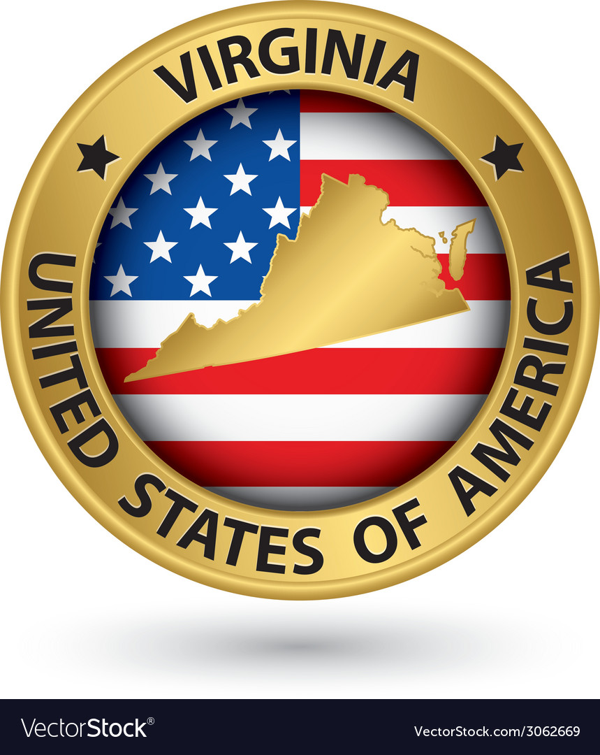 Virginia state gold label with state map vector | Price: 1 Credit (USD $1)