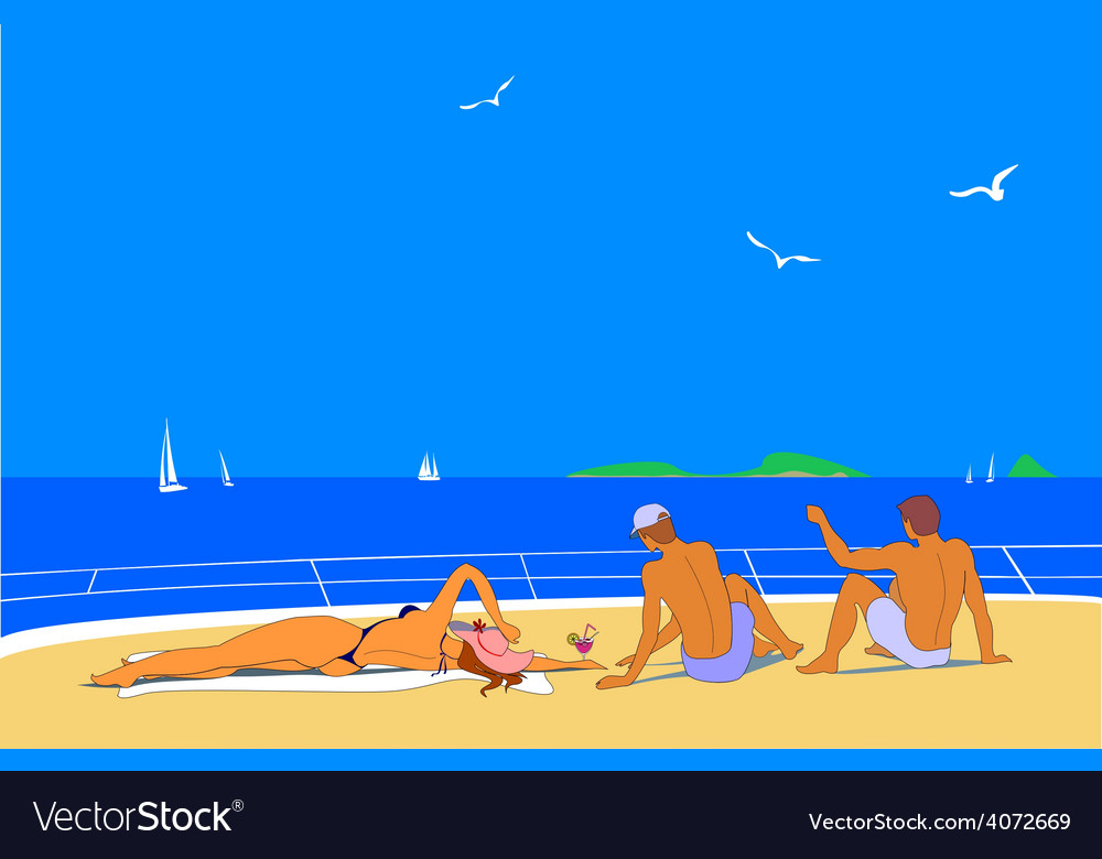 Young people sunbathing on sea vector | Price: 1 Credit (USD $1)