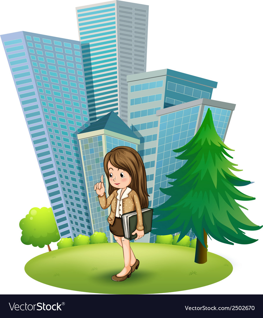 A woman near the pine tree across the tall vector | Price: 1 Credit (USD $1)