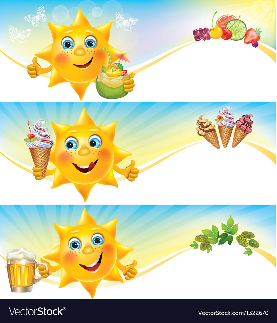 Fun sun with ice cream and cool drinks horizontal vector | Price: 1 Credit (USD $1)