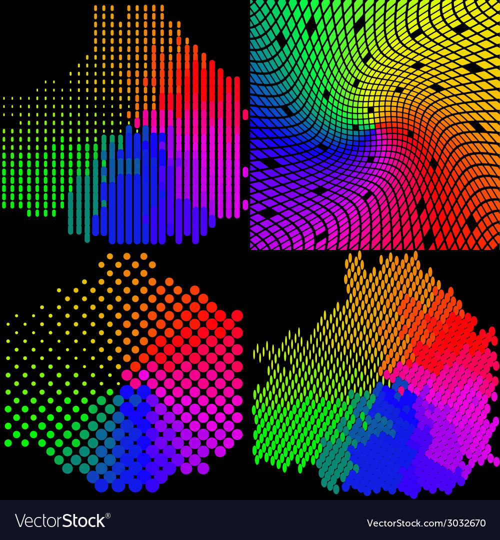 Set of multicolored mosaic abstract background vector | Price: 1 Credit (USD $1)
