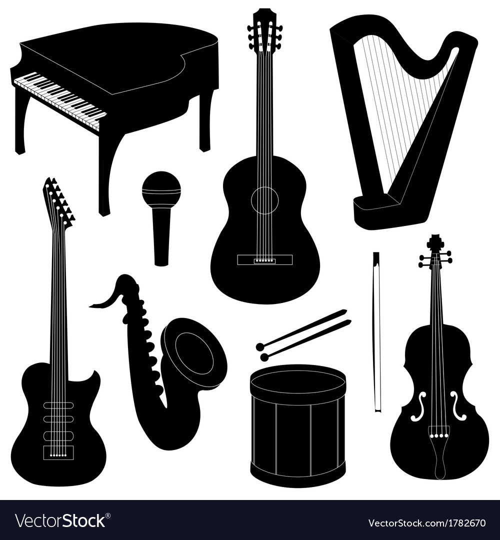 Set of musical instruments silhouettes vector | Price: 1 Credit (USD $1)
