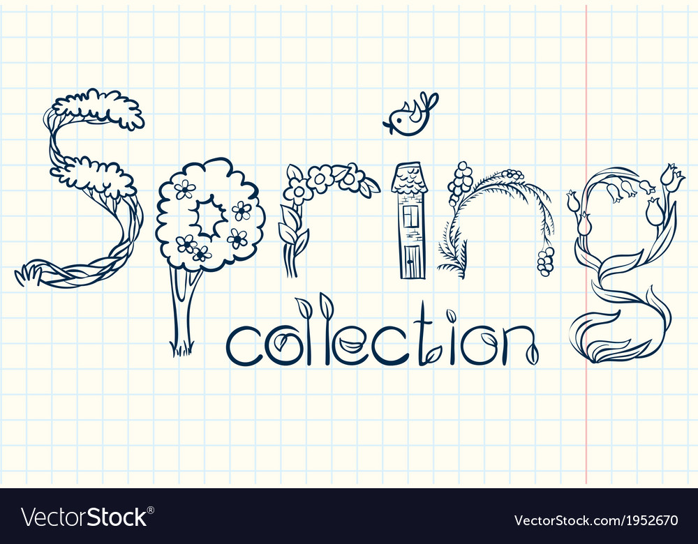 Spring lettering vector | Price: 1 Credit (USD $1)