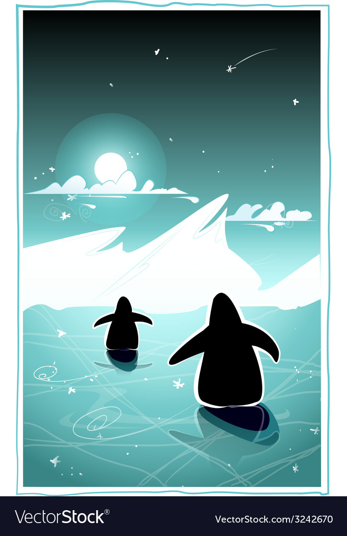 Two penguins in cold arctic night vector | Price: 3 Credit (USD $3)