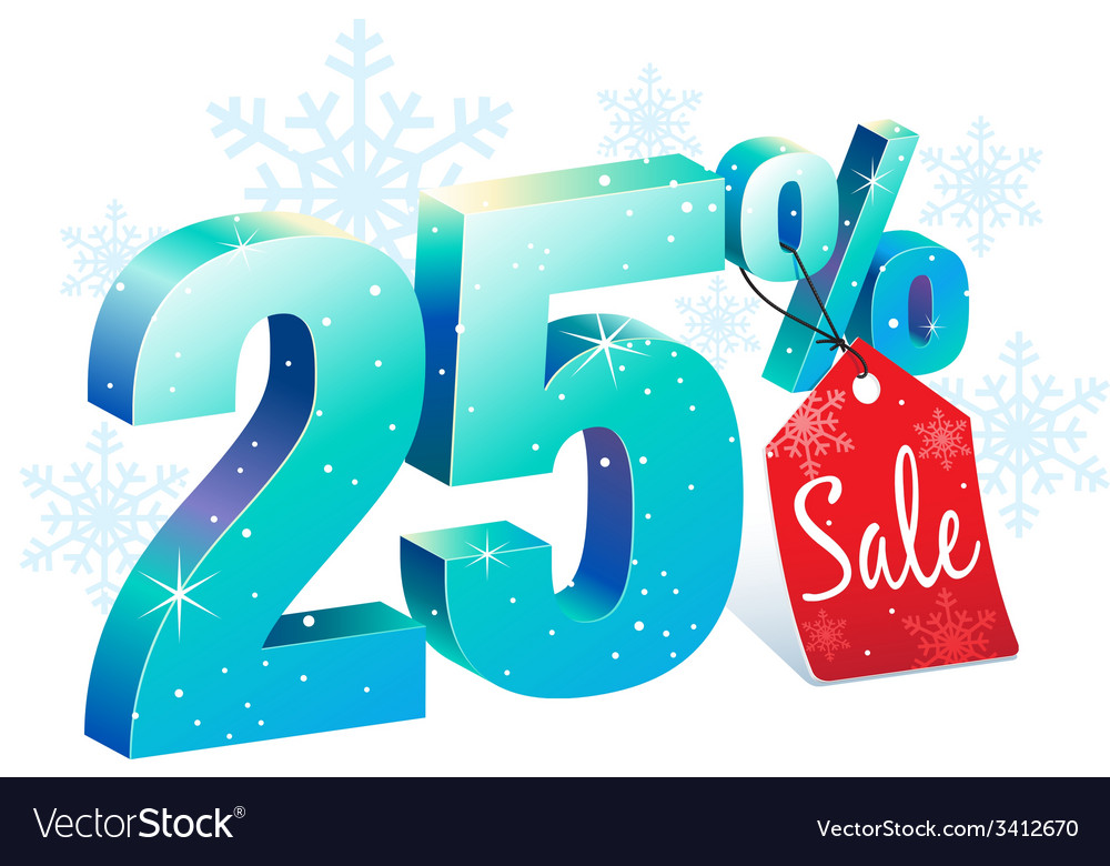 Winter sale 25 percent off vector | Price: 1 Credit (USD $1)