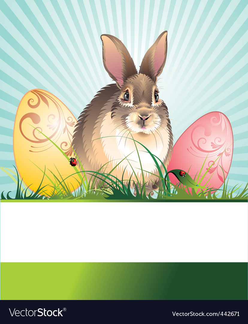 Banner with an easter rabbit vector | Price: 1 Credit (USD $1)