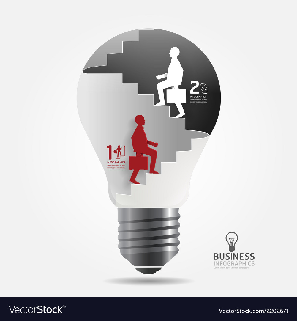 Businessman up the ladder paper light bulb vector | Price: 1 Credit (USD $1)