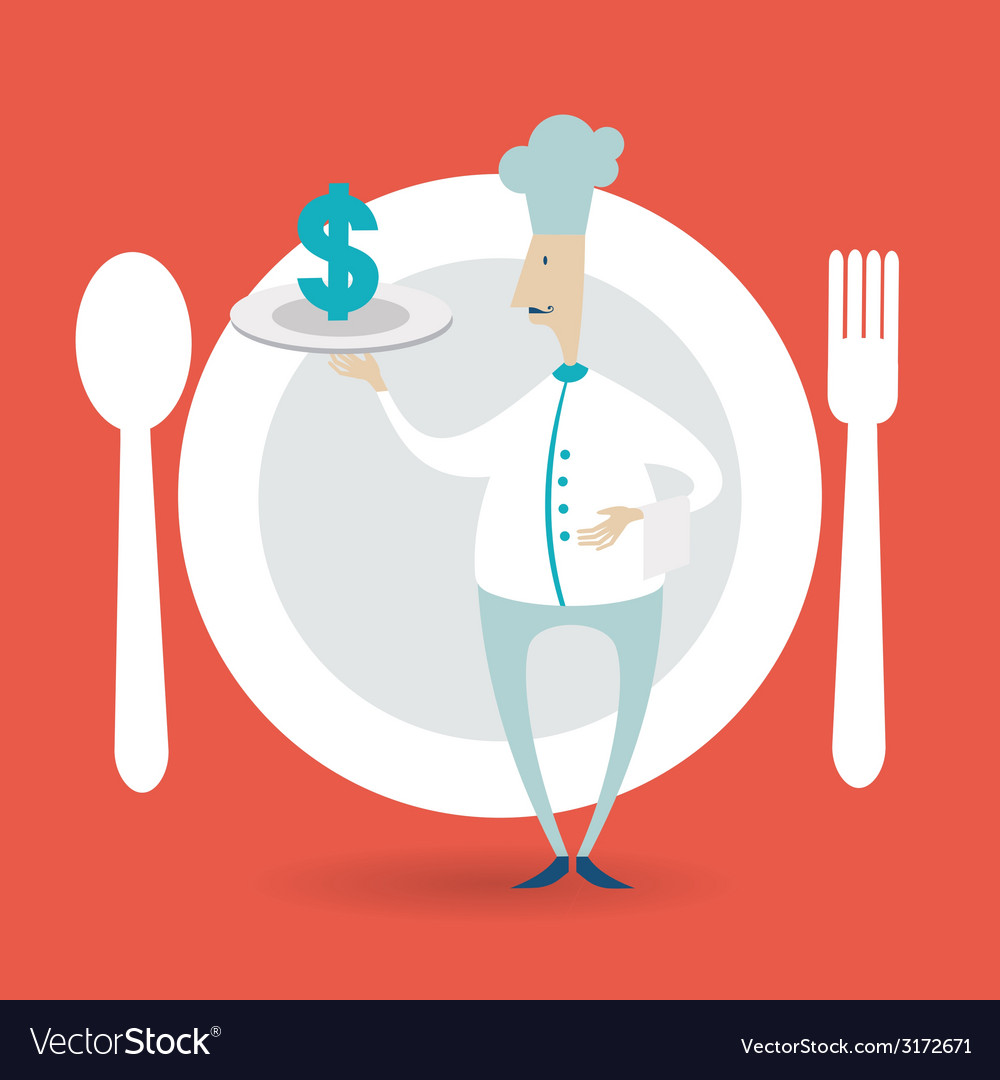 Chef holding a tray icon dollar vector | Price: 1 Credit (USD $1)