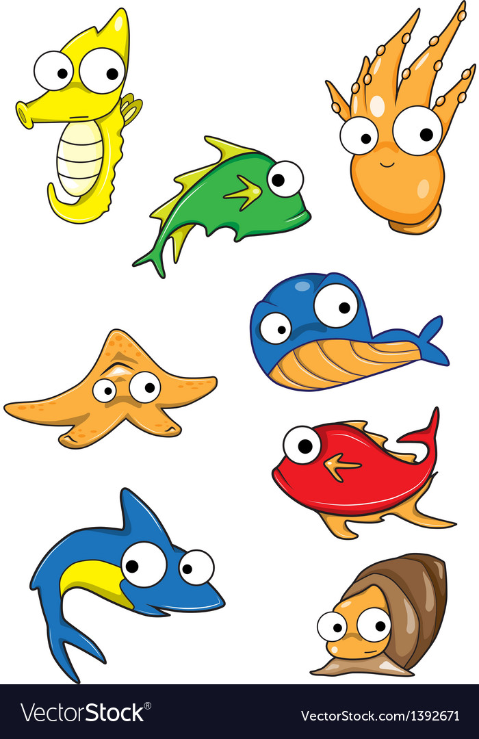 Collection of marine animals vector | Price: 1 Credit (USD $1)