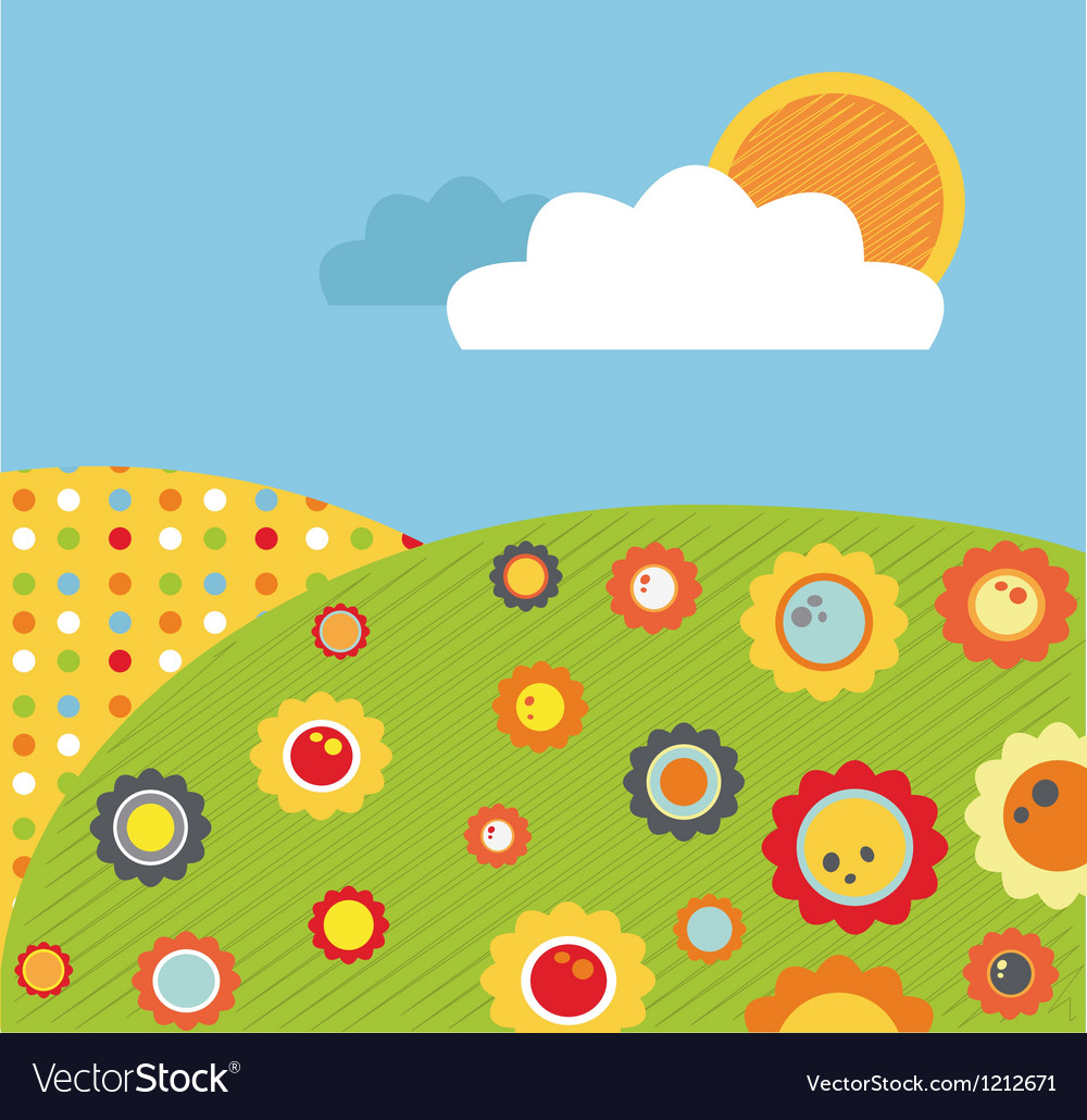 Colorful abstract spring meadow with flowers vector | Price: 1 Credit (USD $1)