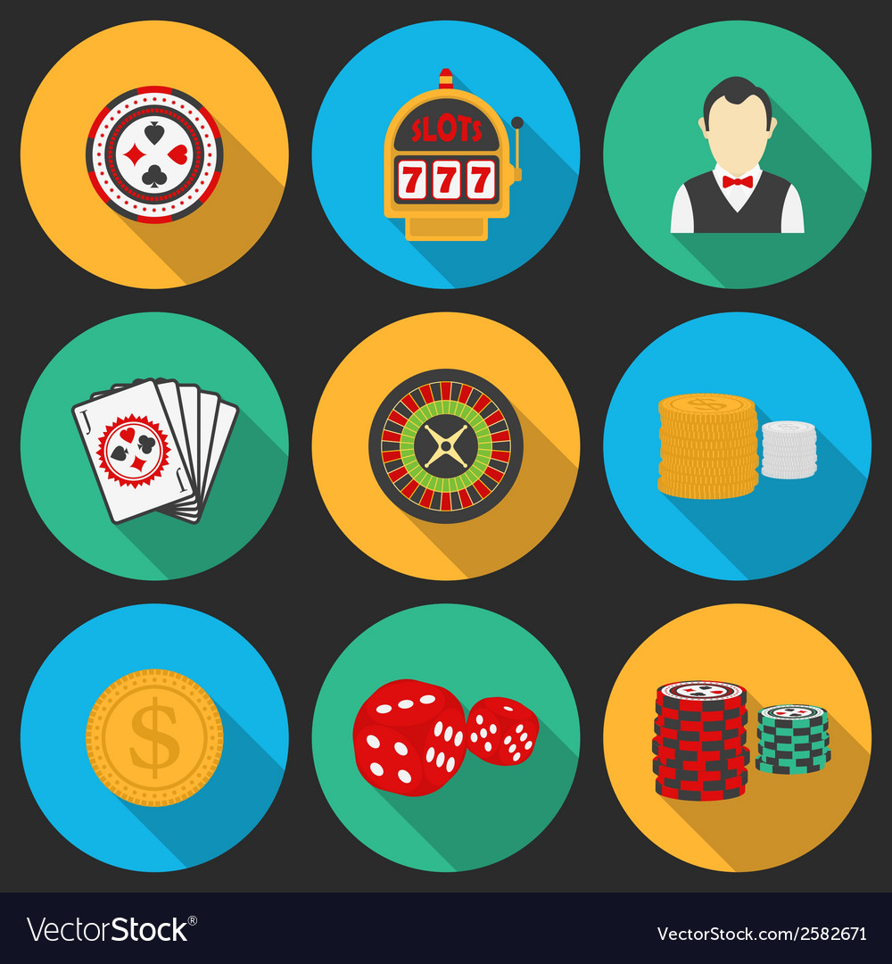 Colorful icon set on a casino theme gambling icons vector | Price: 1 Credit (USD $1)
