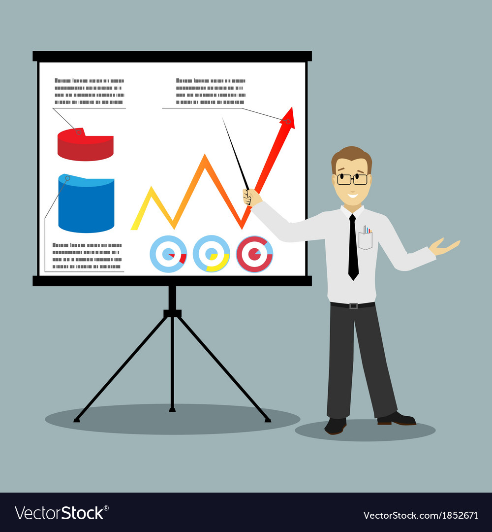 Flat design businessman pointing at presentation vector | Price: 1 Credit (USD $1)