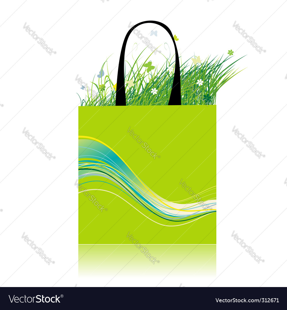 Green grass in bag ecology vector | Price: 1 Credit (USD $1)