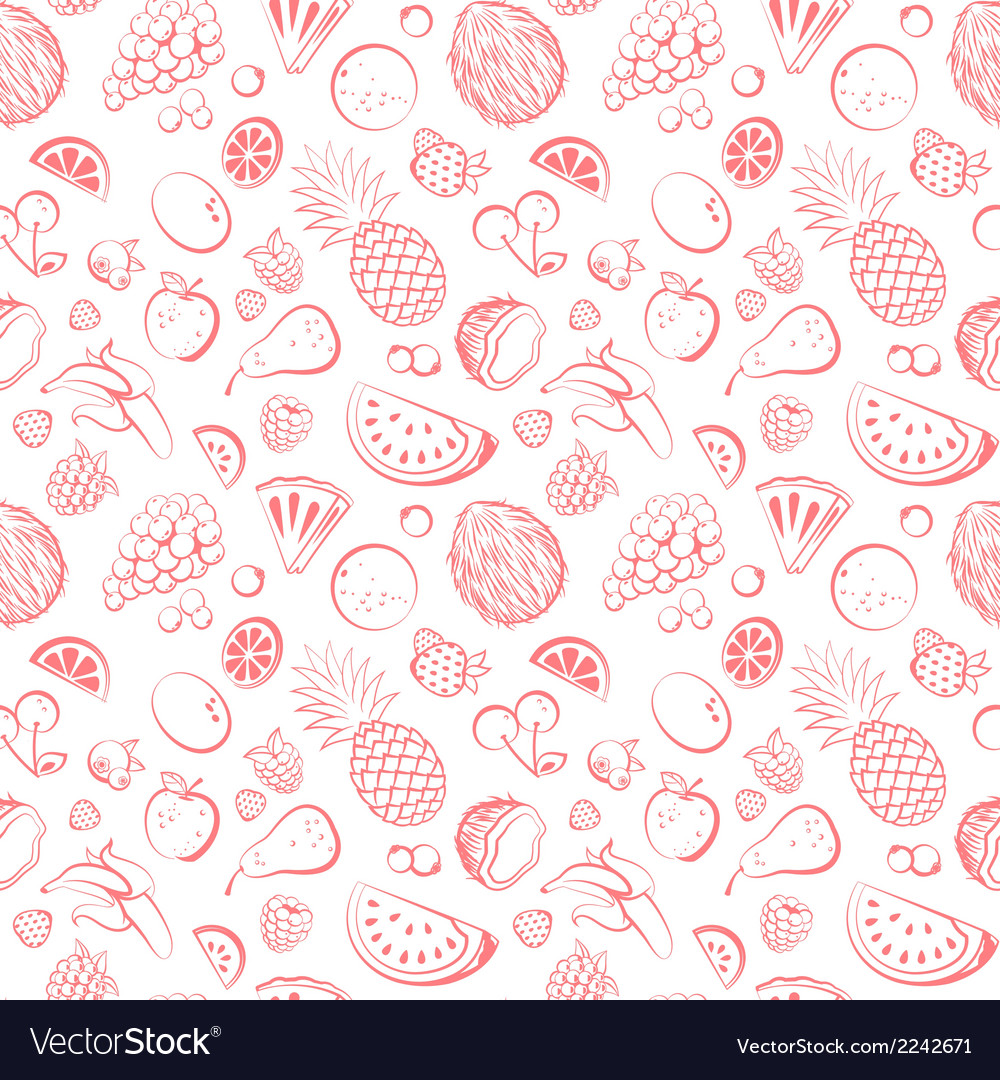 Hand drawn vintage fruit seamless vector | Price: 1 Credit (USD $1)