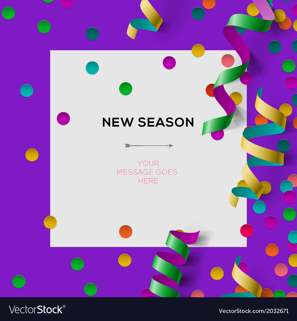 New season invitation template with party confetti vector | Price: 1 Credit (USD $1)