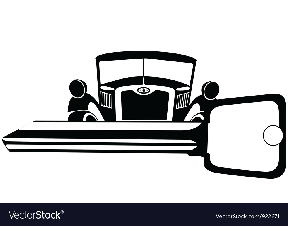Old car and key vector | Price: 1 Credit (USD $1)