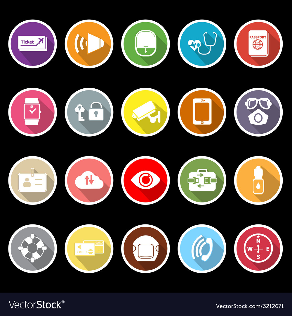 Passenger security flat icons with long shadow vector | Price: 1 Credit (USD $1)