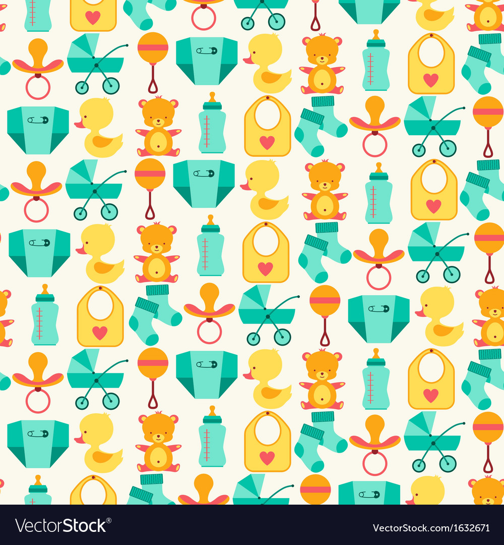 Seamless pattern with newborn baby icons vector | Price: 1 Credit (USD $1)