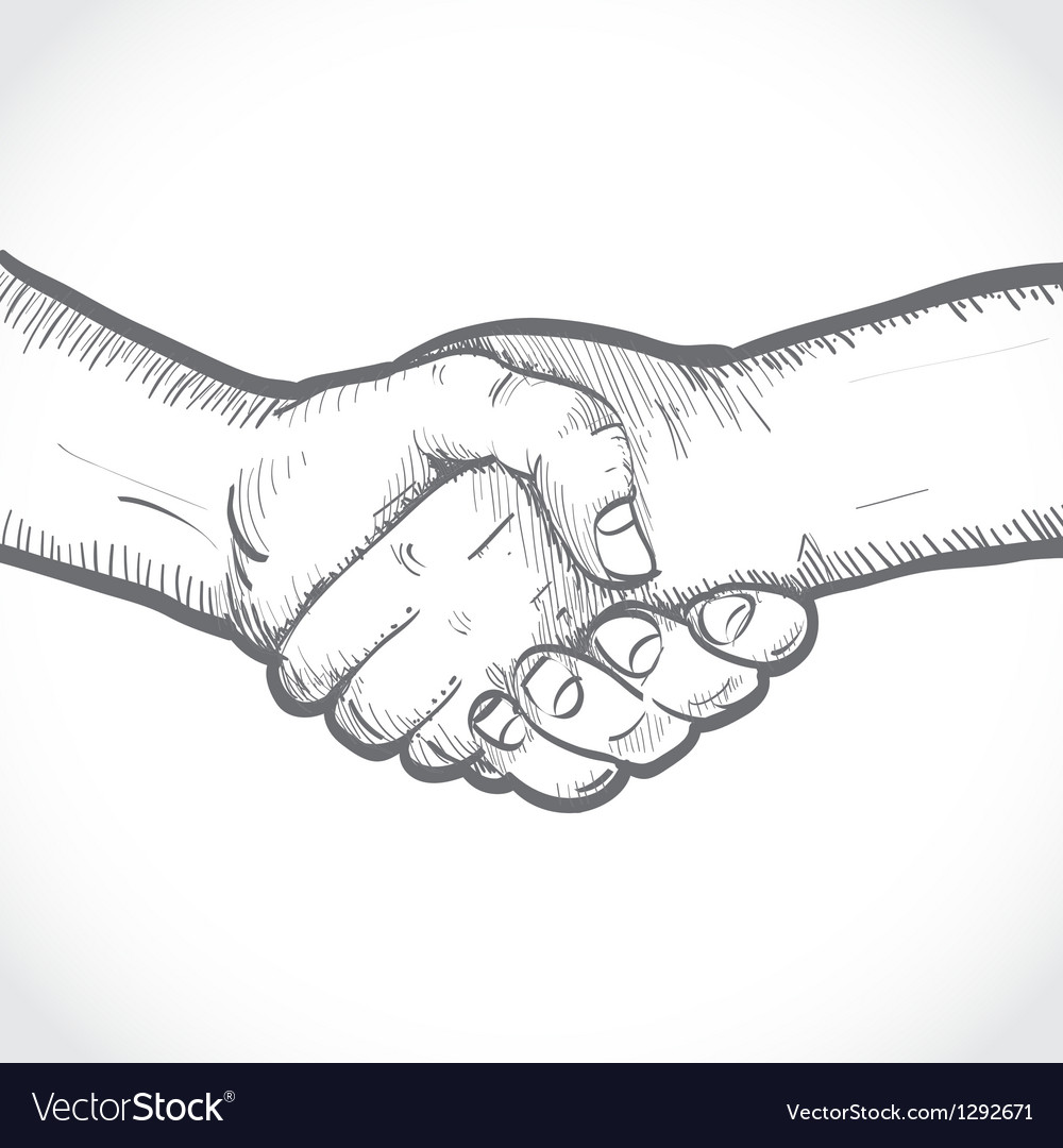 Sketch of two shaking hands vector | Price: 1 Credit (USD $1)