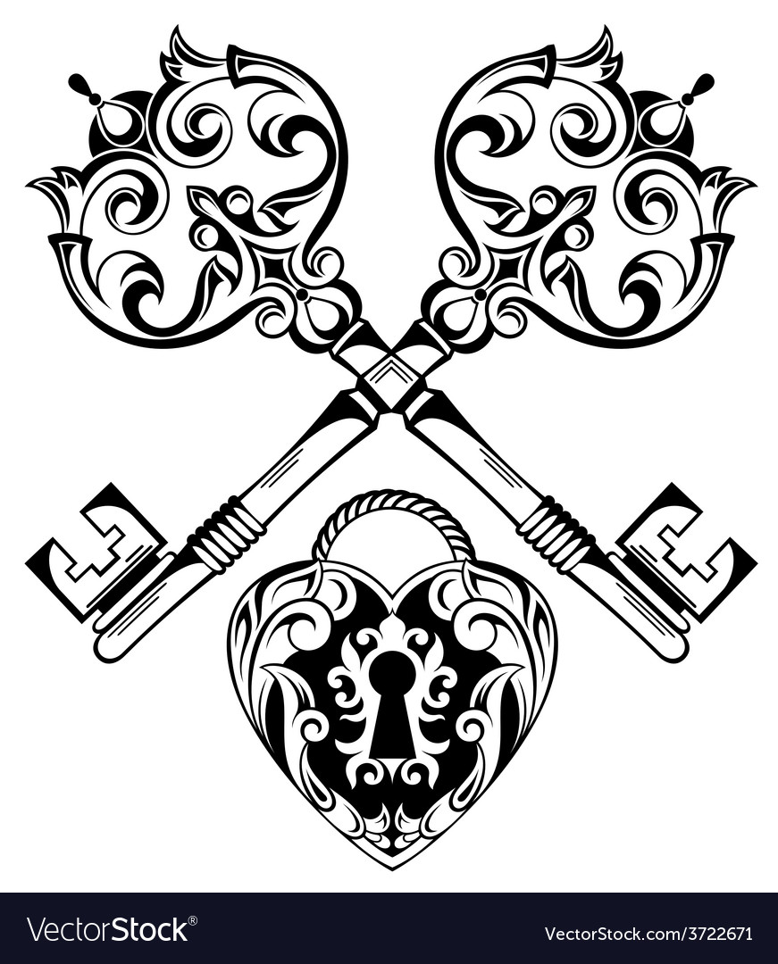 Tattoo design of lock ands key vector | Price: 1 Credit (USD $1)