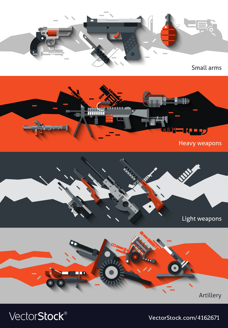 Weapon banners set vector | Price: 1 Credit (USD $1)