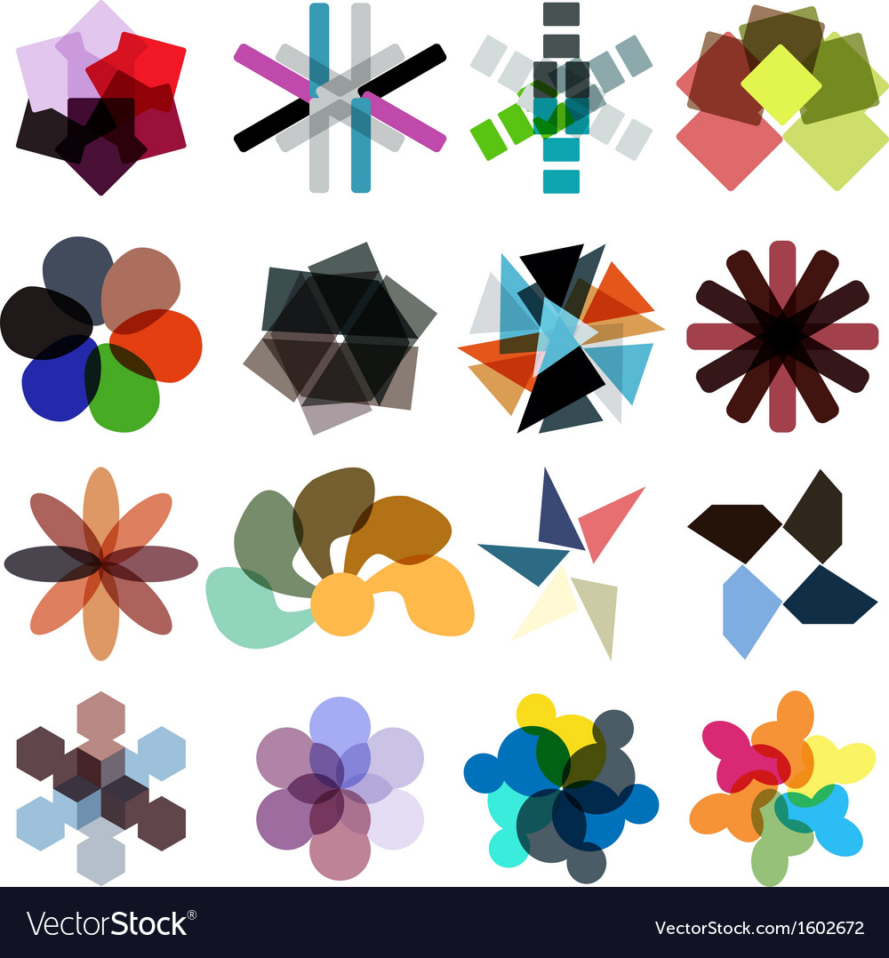 Abstract geometrical colorful business icon set vector | Price: 1 Credit (USD $1)