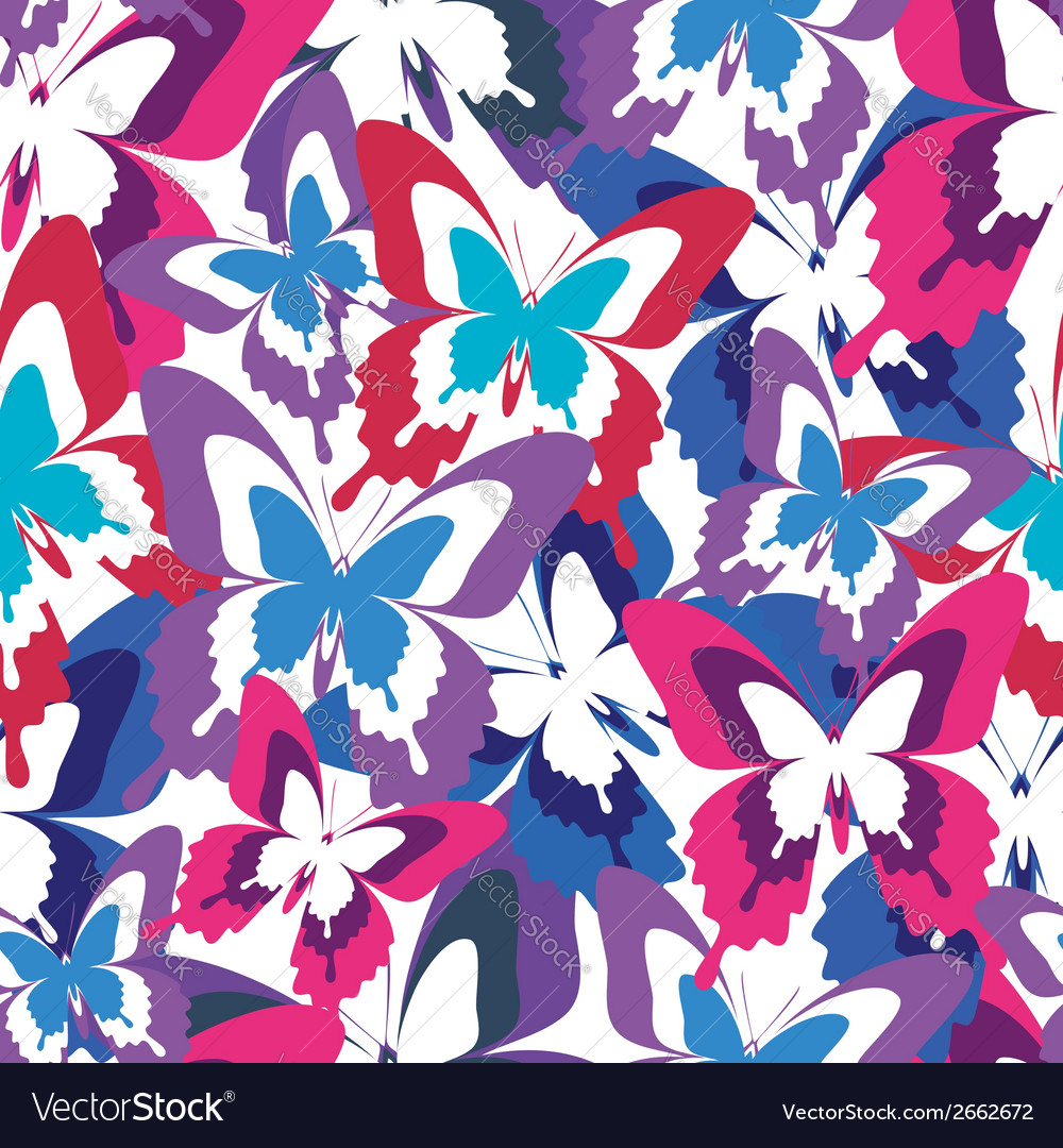 Abstract seamless pattern with colorful butterfly vector | Price: 1 Credit (USD $1)