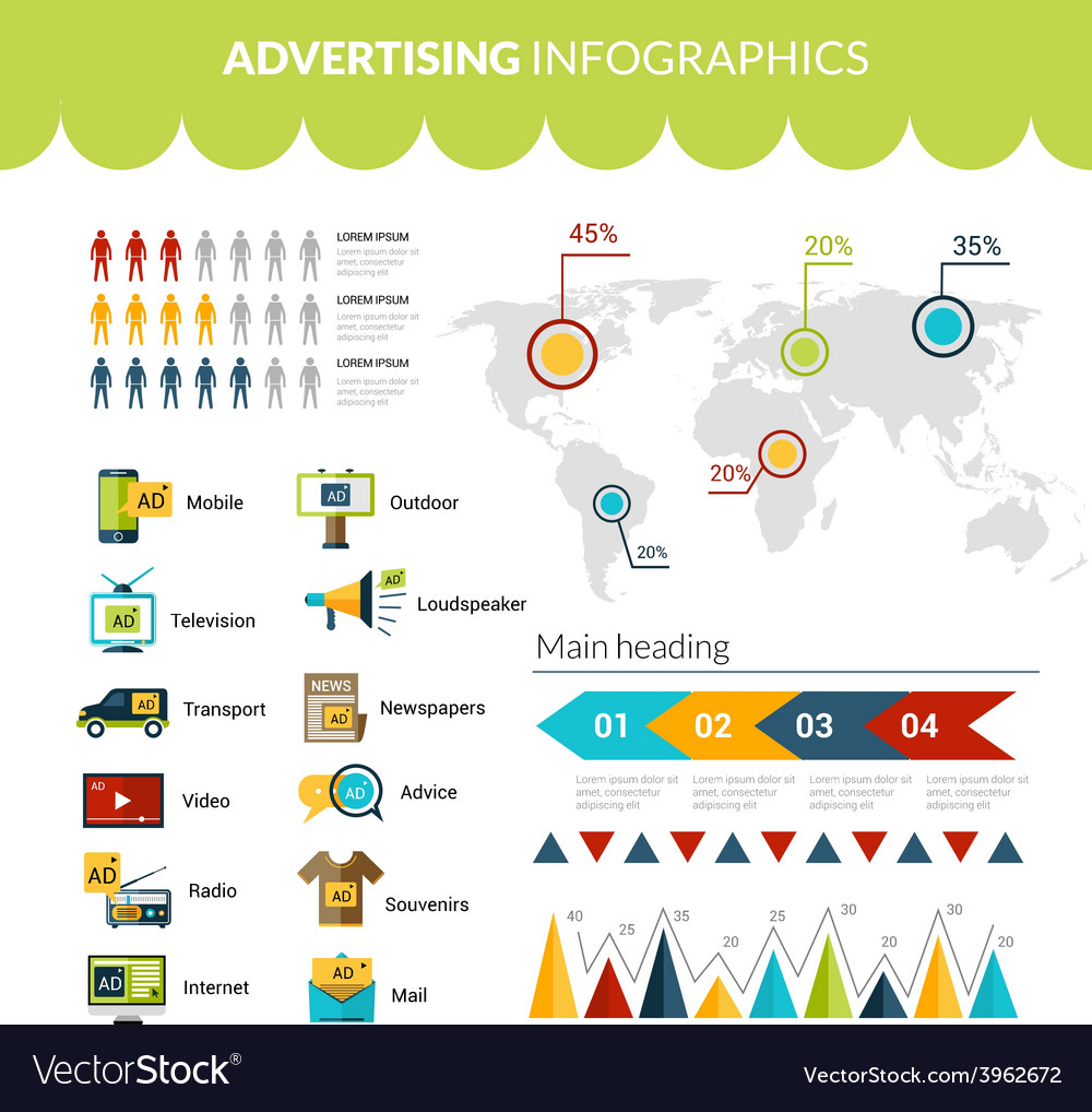 Advertising infographics set vector   Price: 1 Credit (USD $1)