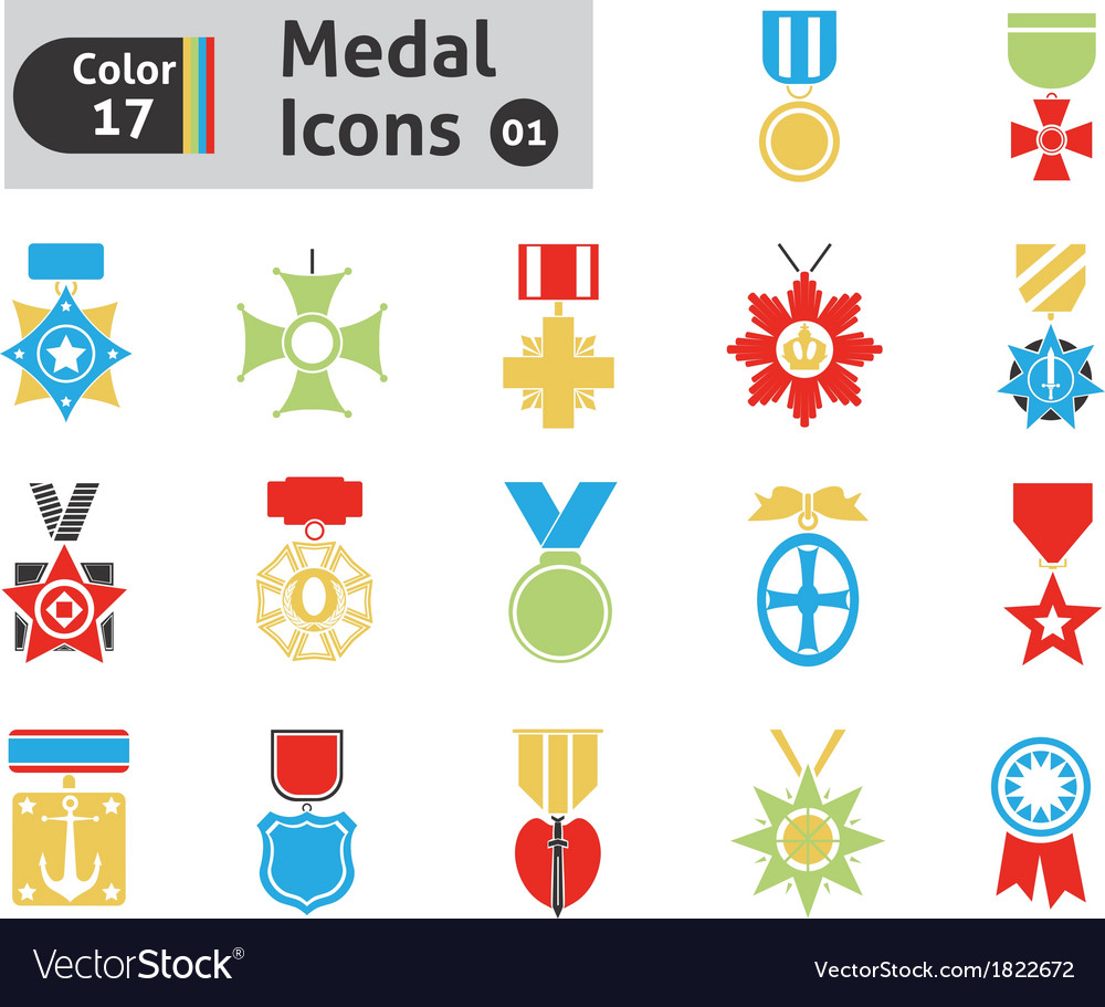 Award and medal icons vector | Price: 1 Credit (USD $1)