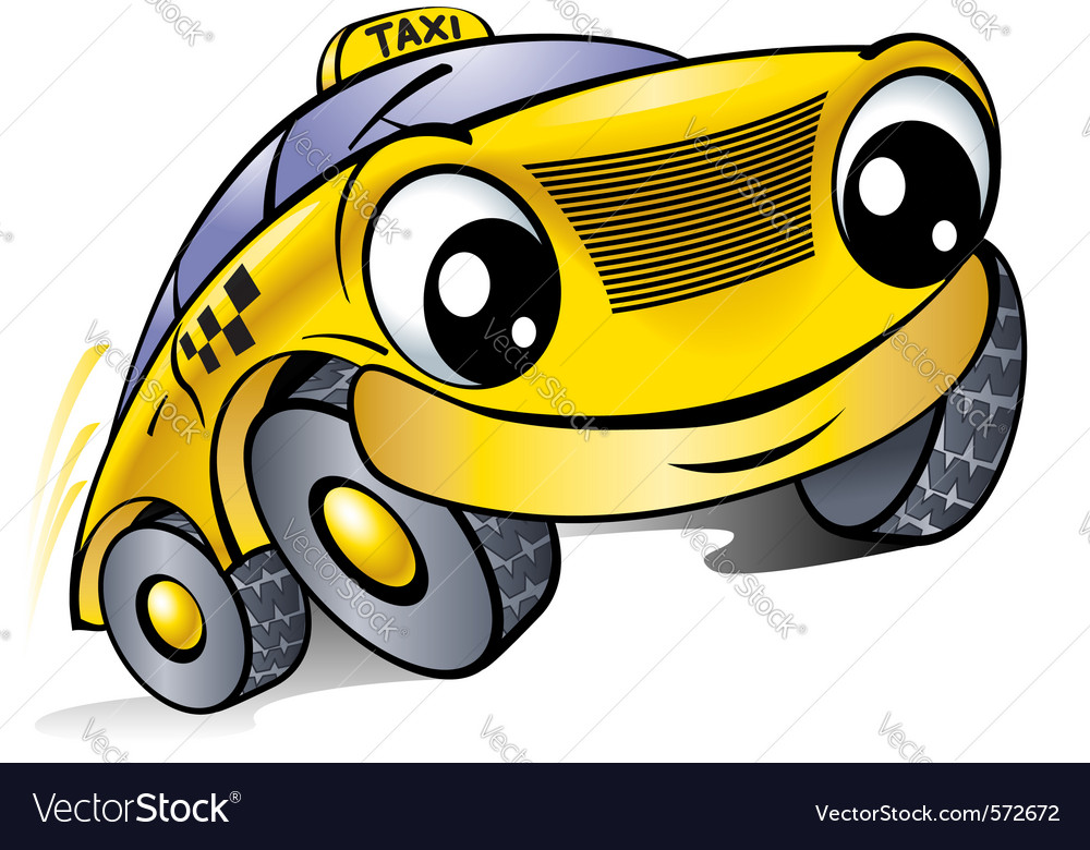 Cartoon taxi vector | Price: 1 Credit (USD $1)
