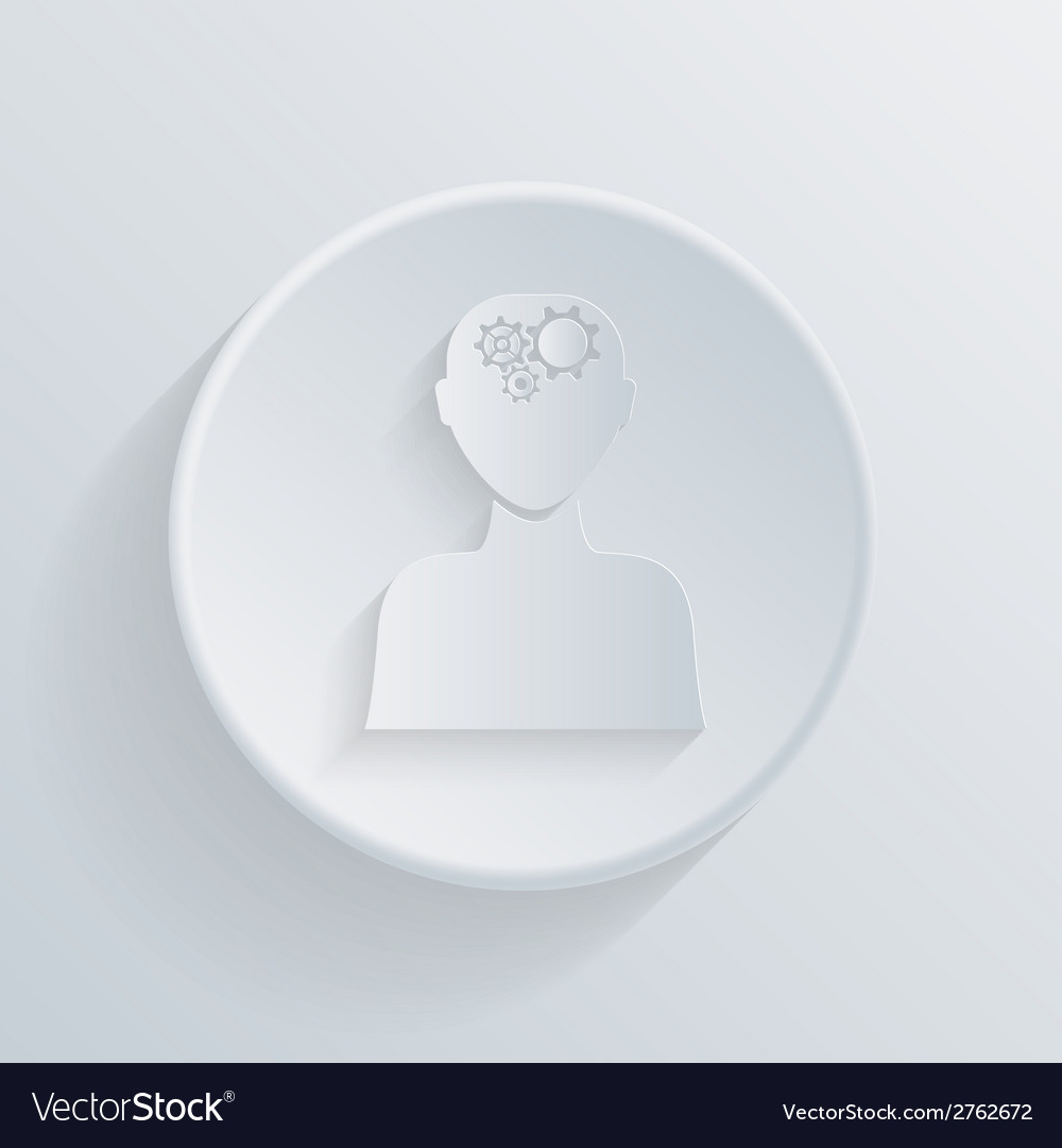 Circle icon man thinks the gears in head vector | Price: 1 Credit (USD $1)
