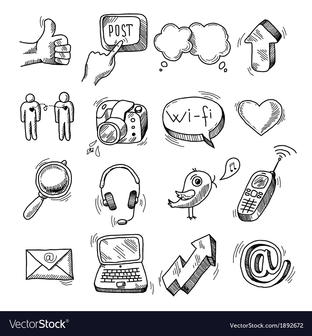 Doodle social icons set vector | Price: 1 Credit (USD $1)