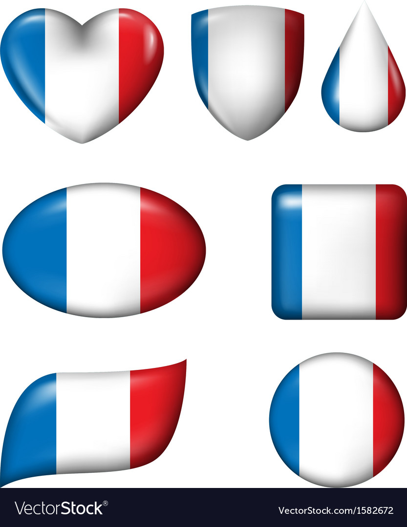 France flag in various shape glossy button vector | Price: 1 Credit (USD $1)