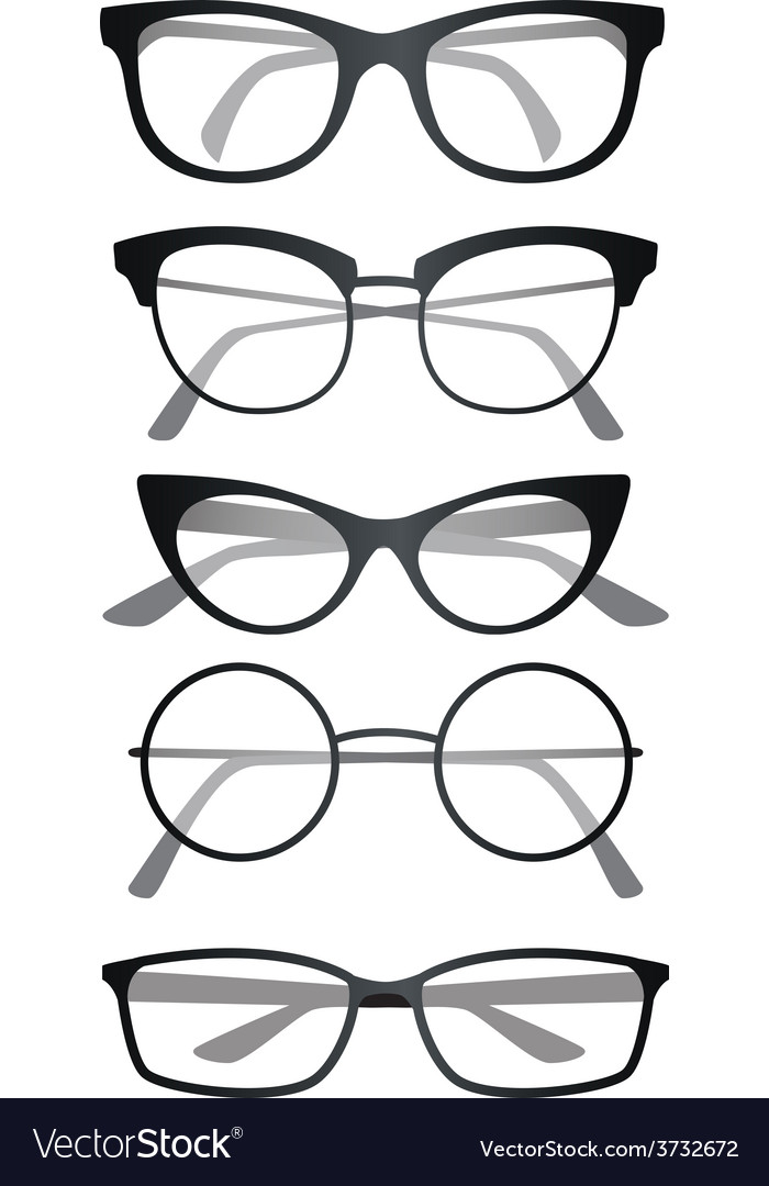 Glasses set on white background vector | Price: 1 Credit (USD $1)