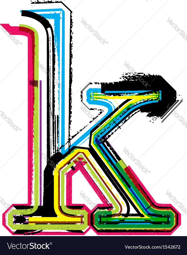 Grunge colorful font letter k vector | Price: 1 Credit (USD $1)