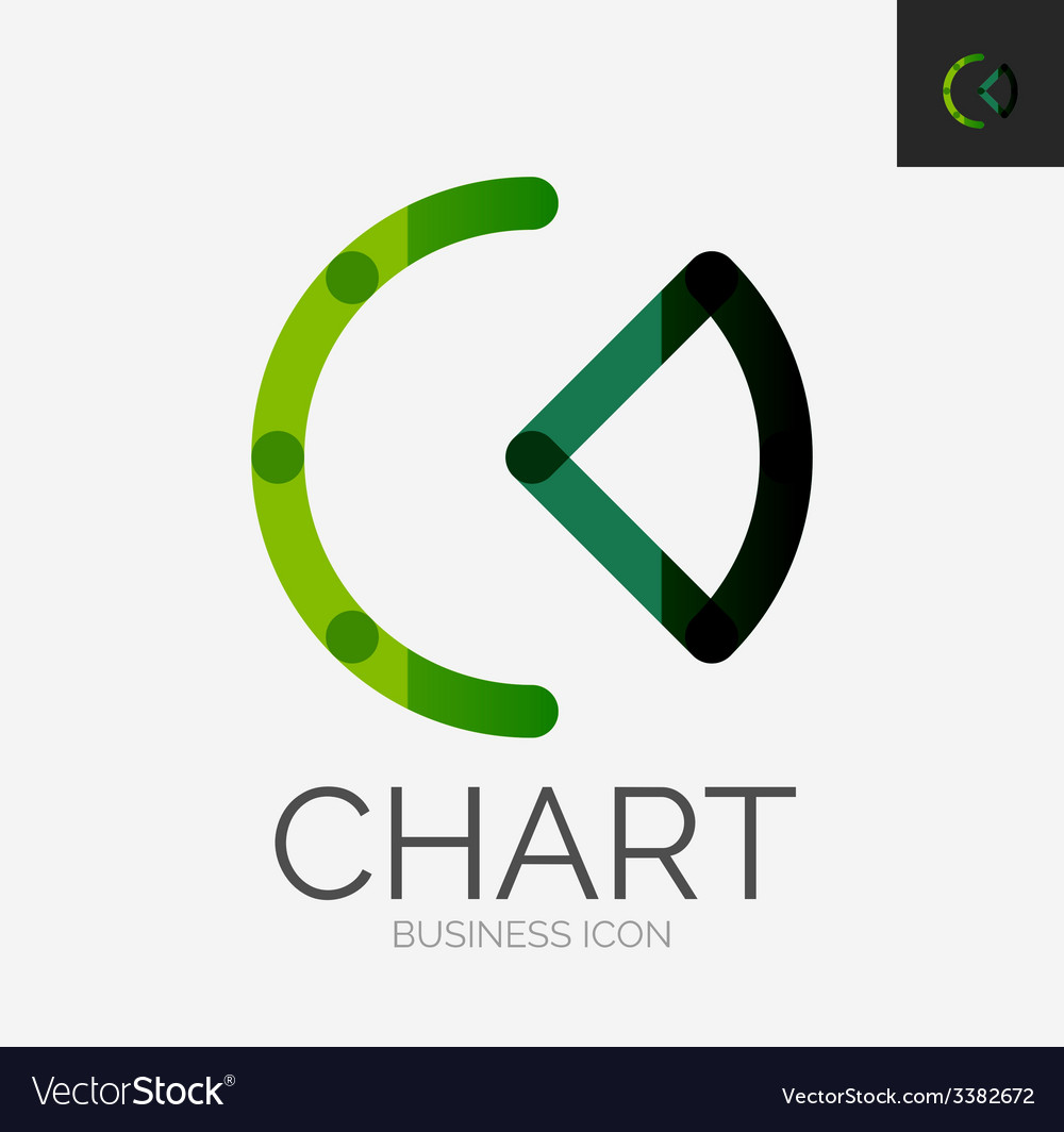 Minimal line design logo chart graph icon vector | Price: 1 Credit (USD $1)