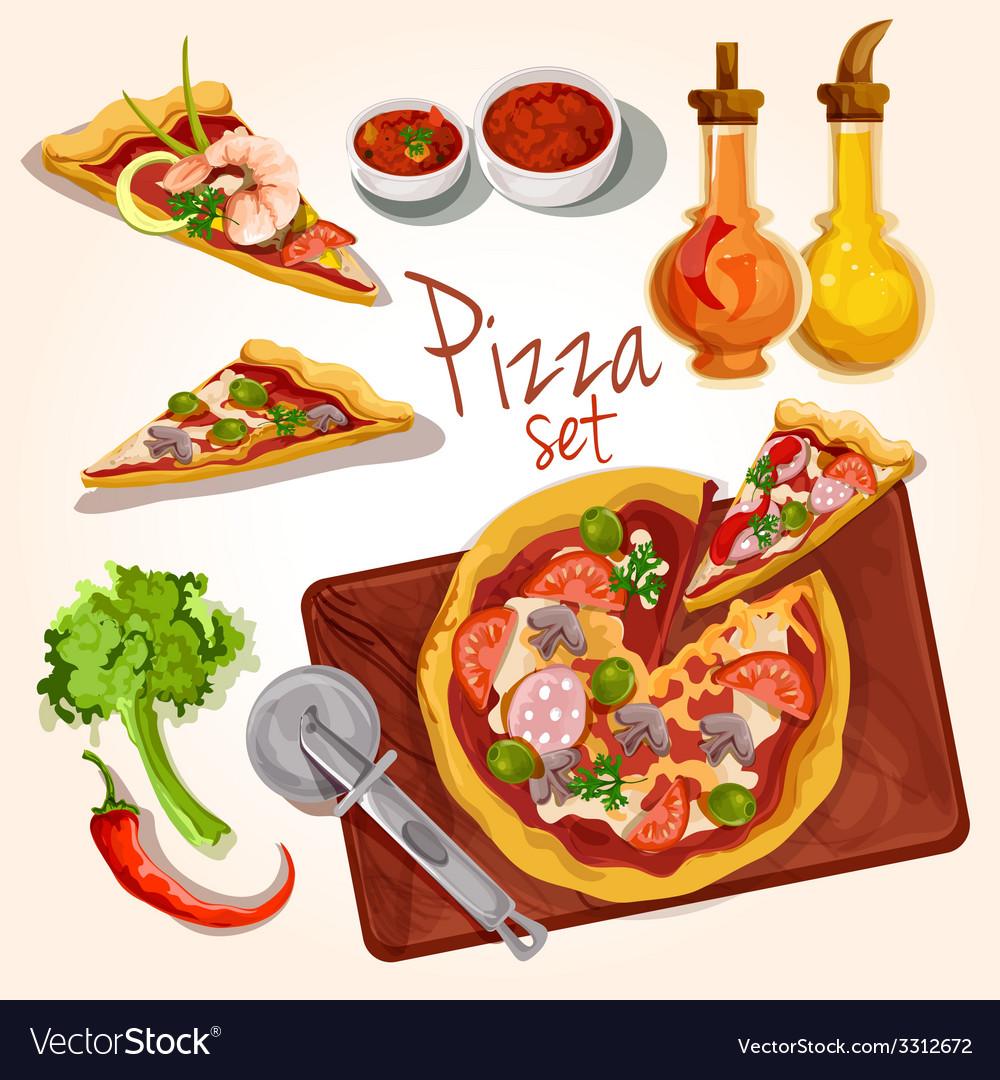 Pizza ingredients set vector | Price: 3 Credit (USD $3)