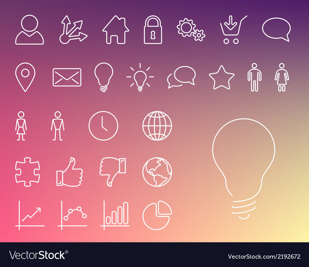 Simple modern thin icon collection vector | Price: 1 Credit (USD $1)